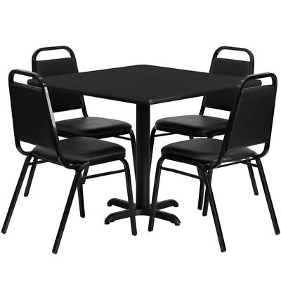 36 Square Black Laminate Table Set W 4 Trapezoidal Back Banquet Chairs