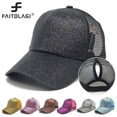 Unisex Women Men Adjustable Ponytail Mesh Glitter Trucker Baseball Cap Hat Lot