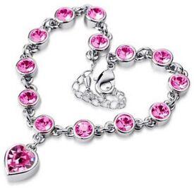 Women Lady Silver Fashion Jewelry Heart Crystal Chain Bangle Bracelet