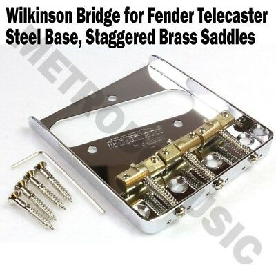 Wilkinson Chrome Telecaster Bridge Steel Base Brass Saddles Fender Tele WTB CR Telecaster Bridge Saddle