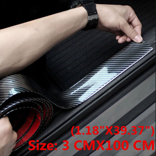 Car Parts - Car Accessories Carbon Fiber Auto Door Plate Cover Anti Scratch Sticker 3CMx1M