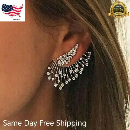 Gorgeous 925 Silver Stud Earring for Women White Sapphire Jewelry