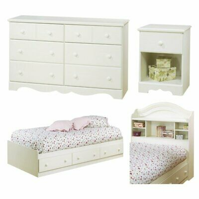 South Shore Summer Breeze 4 Piece Twin Bedroom Set in White