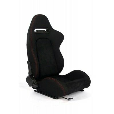 Cipher Auto Black Fabric w/Microsuede/Red Stitching Universal Racing Seats PAIR  Black Microsuede Racing Seat