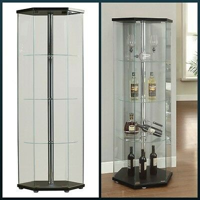 Glass Curio Cabinet Hexagon Decorative Display Case 4 Shelf Accent Modern Room (Dining Room Modern Curio Cabinet)