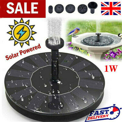 1 W Solar Powered Floating Pump Water Fountain Birdbath Home Pool Garden Decor