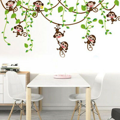 Monkey Tree Jungle Animal Wall Sticker Nursery Kids Room Art Vinyl Decals  Decor - Jungle Tree Decorations