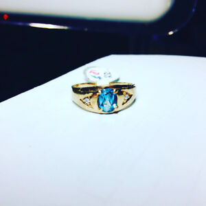 Men's Aquamarine Diamond Ring 10k gold $250