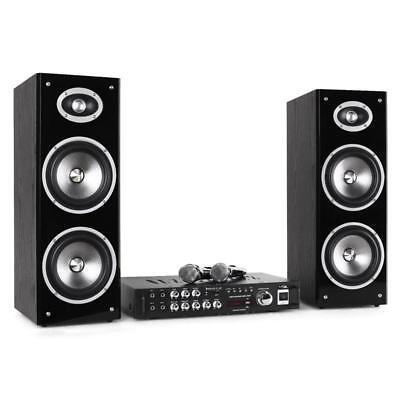 Karaoke Anlage Maschine Set HiFi Bluetooth USB Verstärker Lautsprecher Box 80W