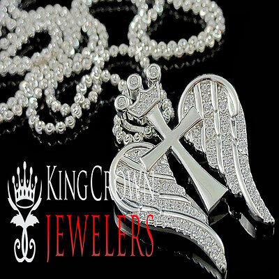 Diamond Crown Charm - Cross Wings Pendant Chain White Gold Silver Round Pave Crown Charm Lab Diamond