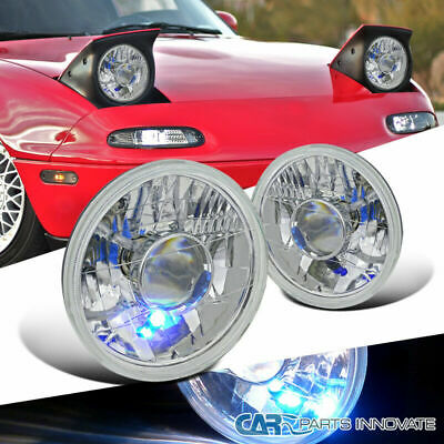 "H6024 7"" Round Chrome Clear Projector Headlight With H4 Bulbs"