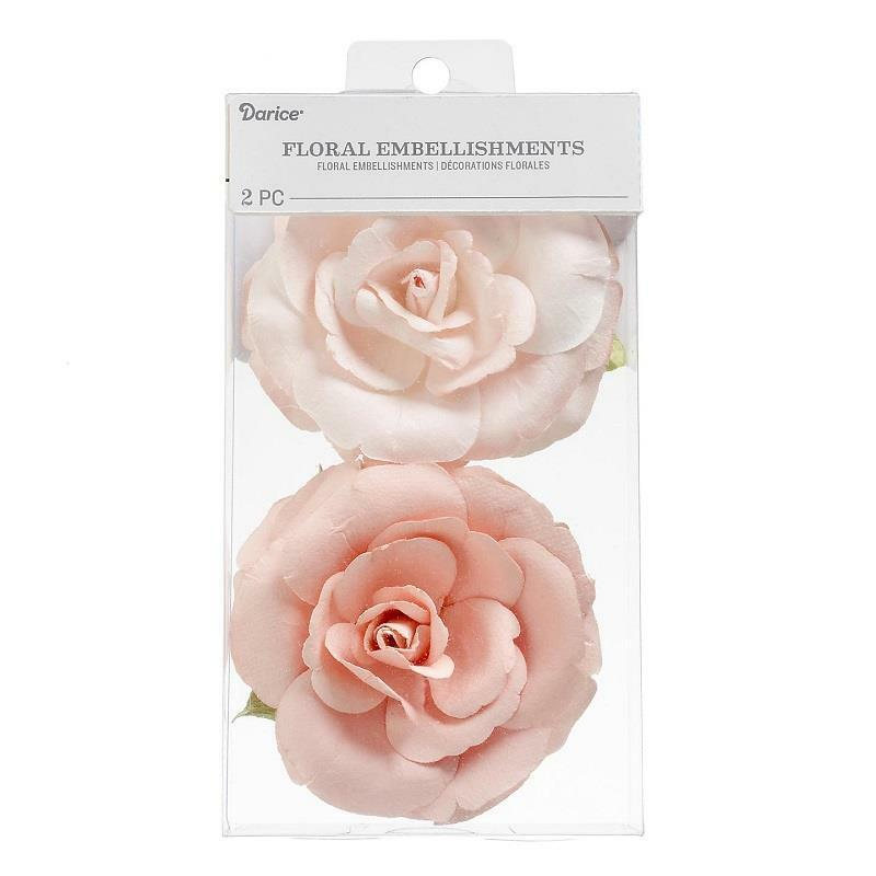 Darice 3 inches Coral Roses Floral Embellishment Flowers Hair Accessory 30062077