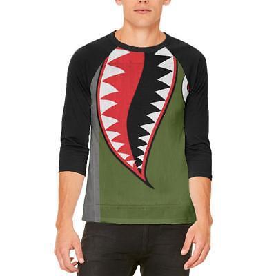 Halloween WWII Flying Tiger Fighter Shark Nose Art Mens Raglan T Shirt](Tiger Nose Halloween)