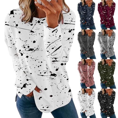 Women Long Sleeve Crew Neck T Shirt Casual Graffiti Print Blouse Loose Tunic Top