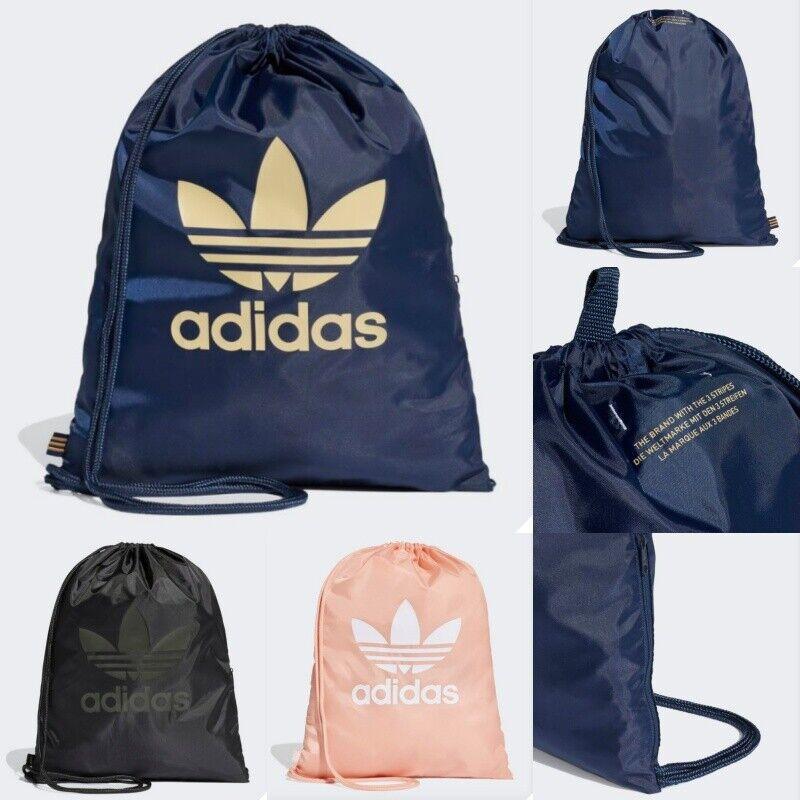 Details about Adidas Trefoil Gym Sack Sports Bag Black Navy Pink Fingertips  Side zip pocket