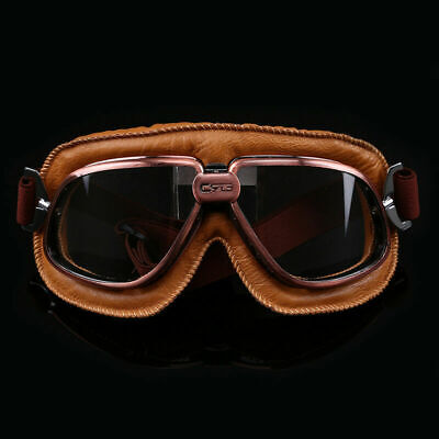 Leather Vintage Goggles Aviator Pilot Retro Motorcycle  Flying Eyewear Copper](Aviator Goggles)