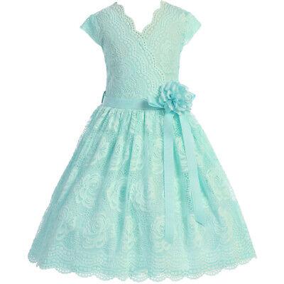 Aqua Flower Girl Dress (AQUA Flower Girl Dress Birthday Wedding Recital Gown Homecoming Dance)