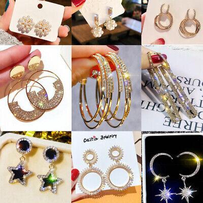 Fashion Luxury Round Heart Glitter Earrings Women Crystal Geometric Hoop Jewelry