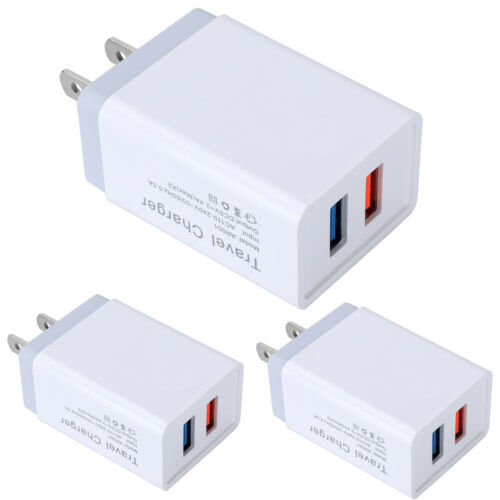 3pack wall charger usb plug dual port