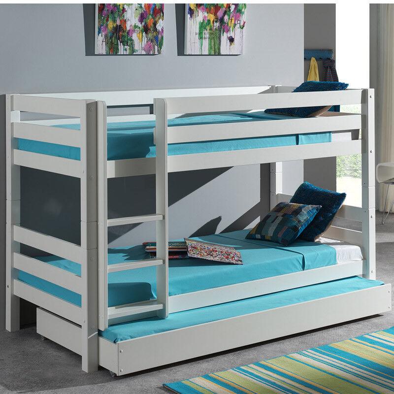 Etagenbett Hochbett Bettschublade massiv weiß Doppelbett Kinderbett Jugendbett