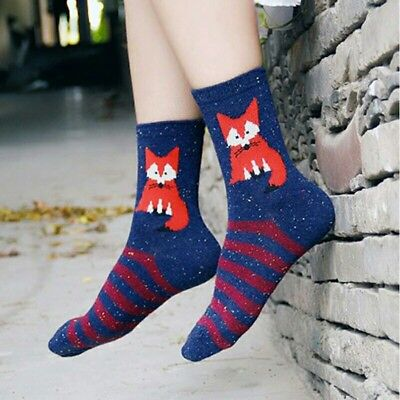 cutom women's funny fall socks fox novelty holiday gift