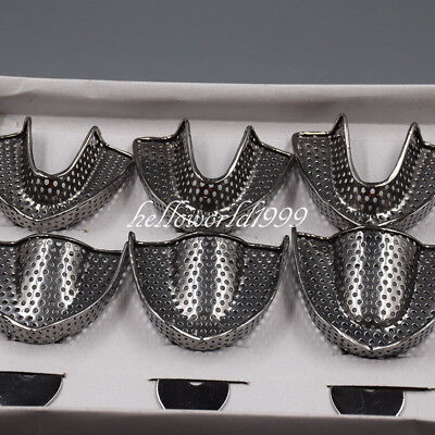 Dental Stainless Steel Trays Impression Metal Autoclavable Upper Lower Holder