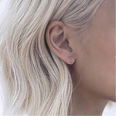 ( Stud Earrings Circle Ring  Minimalist Urban Dainty Delicate Silver Plated )