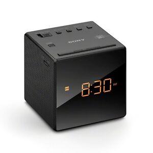 New Sony FM/AM Clock Portable  Travel Alarm Clock Radio - Black ICFC1B.CEK