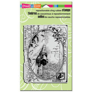 STAMPENDOUS-RUBBER-STAMPS-CLING-TRAIN-POSTCARD-STAMP