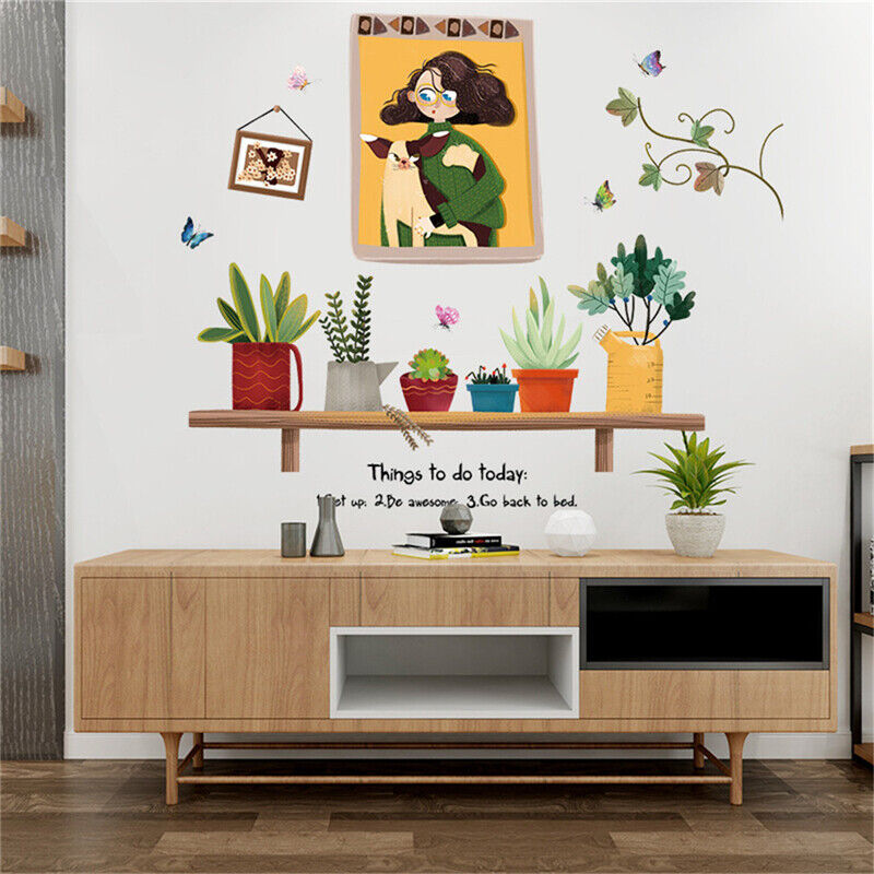 Home Decoration - Waterproof Wall Stickers Home Decoration Green Self-adhesive Decal Sticker LL
