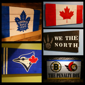 Rustic reclaimed barn board signs toronto maple leafs blue jays