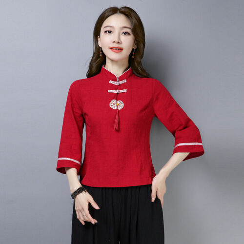 New Women Ethnic Style Embroidery Tassels Linen T-Shirt Tops Chinese Tang Summer