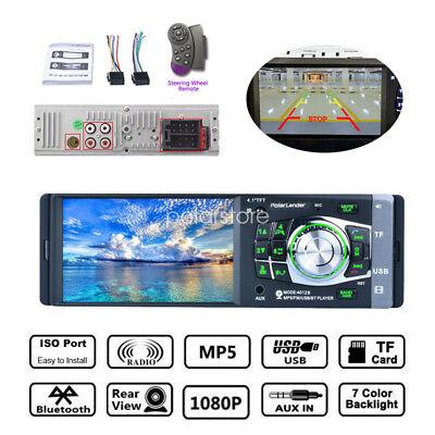 4.1'' 1DIN Car Stereo Radio Bluetooth FM USB AUX MP4 MP5 Player Wheel Control US