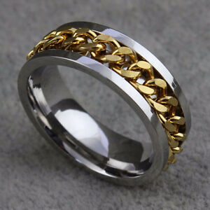 Stainless Steel Chain Spinner Ring - Size 11