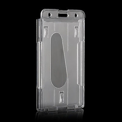Clear Transparent Vertical Hard Plastic Badge Holder Double Card Id Case 10x6cm