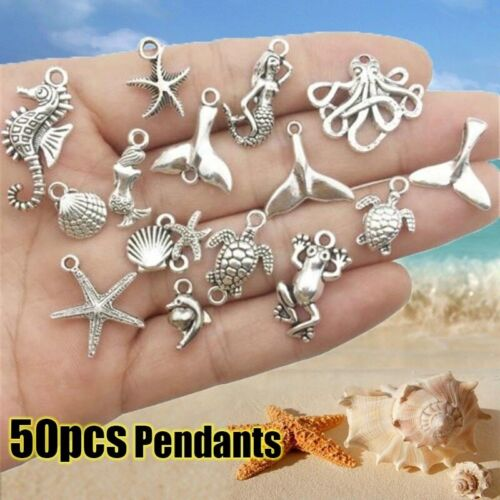 50x Tibetan Silver Animal Sea Ocean Mix Charms Pendant  For Jewelry Making DIY M