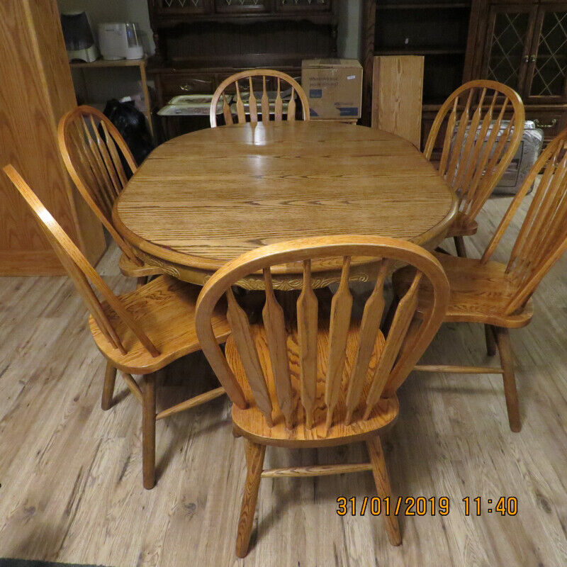 Solid Oak Dining Table With 6 Solid Oak Chairs Dining Tables