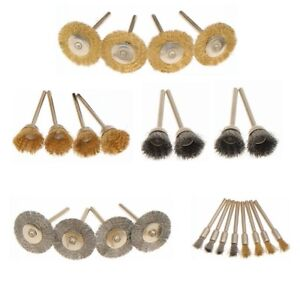 24Pcs Brass Wire Brush Set Wheel Grinder Clean For Dremel Rotary Tool Accessory