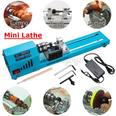 Mini Wood Lathe Variable 7 Speed Benchtop 7000rpm Grinding Polishing Woodworking