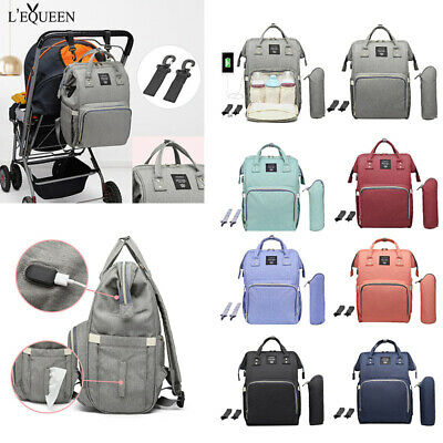 LEQUEEN Waterproof Diaper Bag USB Charging Large Capacity Mummy Nursing Backpack