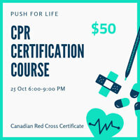 CPR Course - Red Cross Certification - 25 Oct 6-9pm