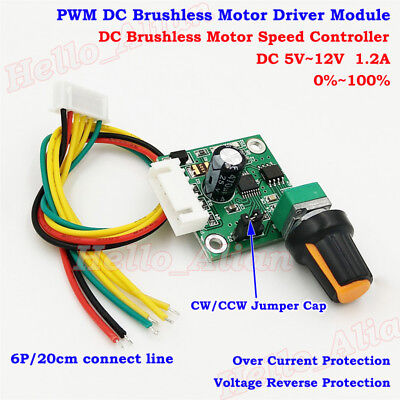 Dc 5v-12v 3-phase Pwm Dc Brushless Motor Driver Speed Controller Cw Ccw Swtich