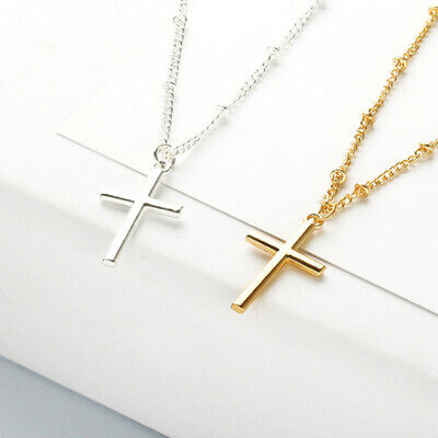 Small Gold Cross Religious Bead Golden Adjustable Silver Couple Pendant Necklace - Gold Bead Necklaces