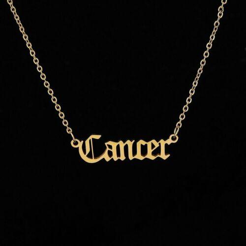 12 Constellations Zodiac Retro Gold Pendant Necklace Simple Letters Virgo Libra