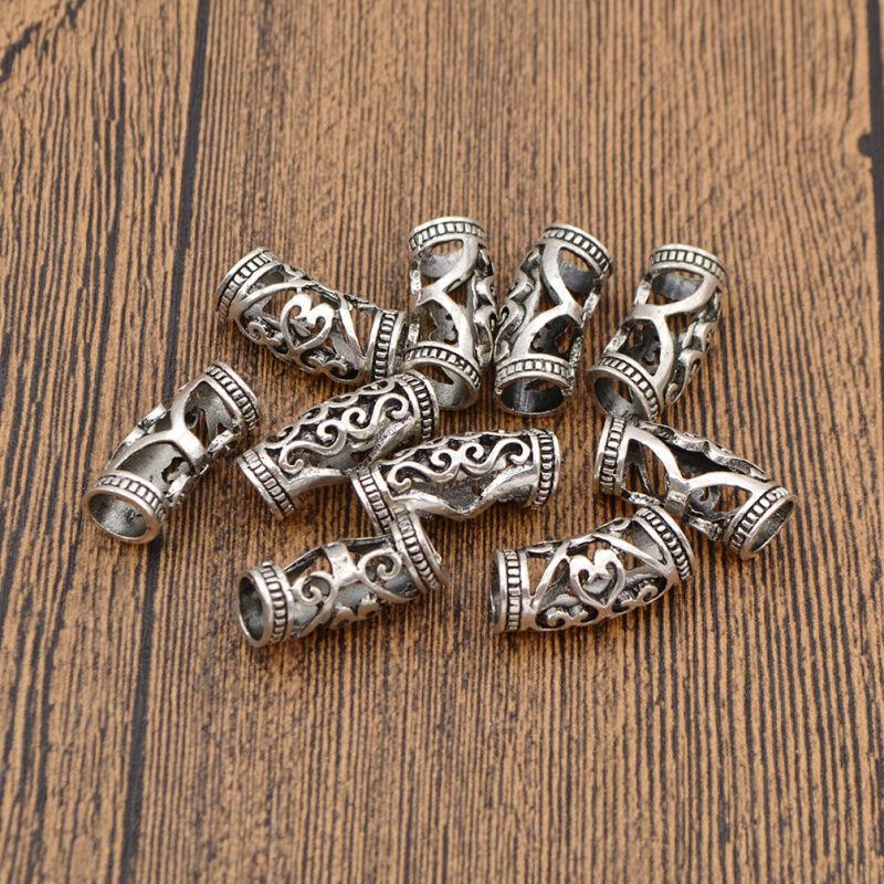 Hair Braiding Dread Dreadlock Beads Cuff Clip Women Metal Rings Sliver 10pcs