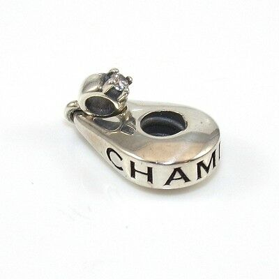 (Authentic Chamilia Sterling Silver Charm Bead Dangle Engagement Ring VX)
