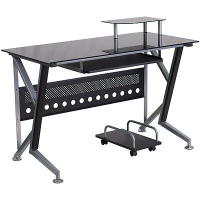Black Glass Computer Desk With Pull-out Keyboard Tray And Cpu Cart - Office Desk