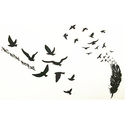 Temporary Tattoo Stickers Body Art Waterproof Black Birds Fly Seagull Feathers