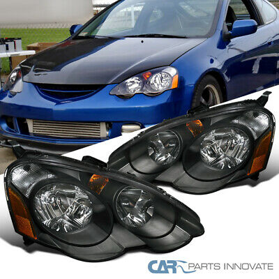 For 02-04 Acura RSX DC5 Replacement Black Clear Head Lights Driving Lamps Pair