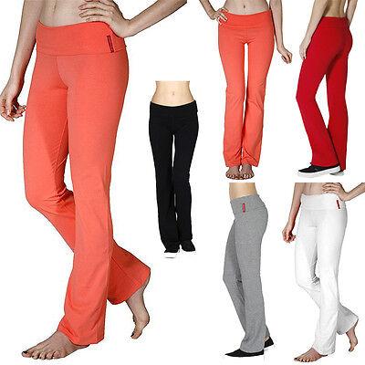 Active Wear Yoga Pants Foldable Waistband Comfortable Cotton Spandex S M L